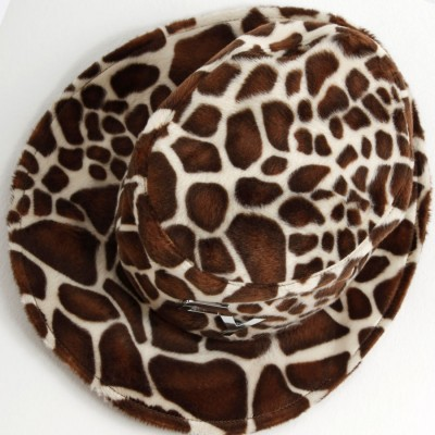Damen-Safari-Fell-Hut- braun,weiß